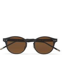 Bottega Veneta Round Frame Coated Aluminium And Acetate Sunglasses