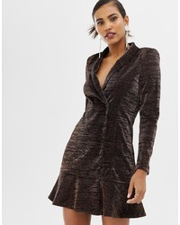 Y.a.s Glittery Peplum Hem Mini Blazer Dress In Black