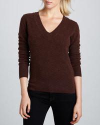 Dark Brown V-neck Sweater