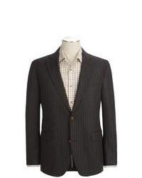 Dark Brown Vertical Striped Blazer