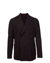 Dark Brown Vertical Striped Double Breasted Blazer