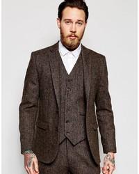 Asos Brand Slim Suit Jacket In Brown Harris Tweed