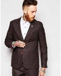 Farah Vintage Suit Jacket In Brown Herringbone