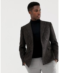 ASOS DESIGN Slim Double Breasted Blazer In 100% Wool Harris Tweed