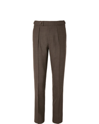 Berg & Berg Tobacco Arnold Slim Fit Tapered Pleated Wool Suit Trousers