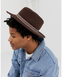 ASOS DESIGN Wide Brim Pork Pie Hat In Brown With Aztec Band