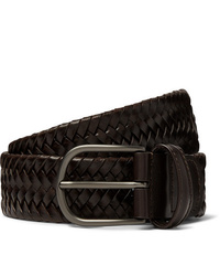 ANDERSON'S 35cm Dark Brown Woven Leather Belt