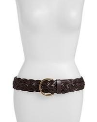 Tarnish Braided Leather Belt Dark Brown Medium