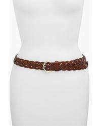 Lulu Woven Bonded Leather Belt Brown Mediumlarge
