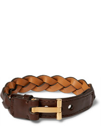 Tom Ford Woven Leather And Gold Plated Bracelet