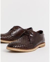 Base London Woven Lace Ups In Dark Brown
