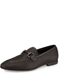 Dark Brown Woven Leather Loafers