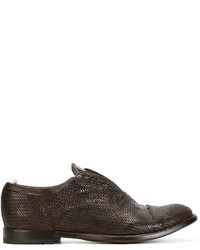 Dark Brown Woven Leather Oxford Shoes