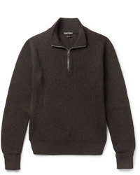 Tom Ford Ribbed Wool Half Zip Sweater