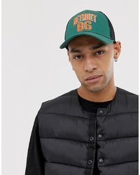 ASOS DESIGN Trucker In Green With High Build Embroidery Detail