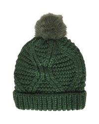 Topshop Cable Knit Pompom Beanie Dark Green One Size