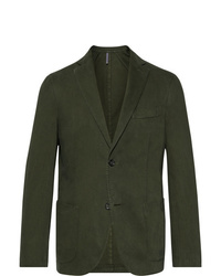 Incotex Dark Green Gart Dyed Cotton And Cashmere Blend Twill Blazer