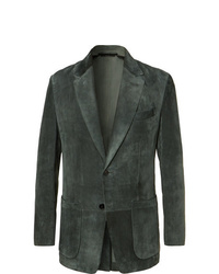 Tom Ford Dark Green Slim Fit Suede Blazer