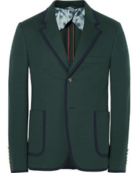 Gucci Green Slim Fit Contrast Tipped Cotton Suit Jacket