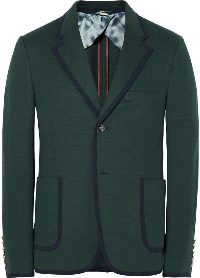 Gucci Green Slim Fit Contrast Tipped Cotton Suit Jacket 1 575 Mr