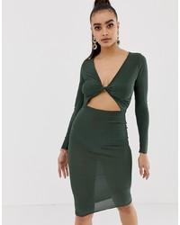 Missguided Slinky Twist Front Midi Dress In Khaki