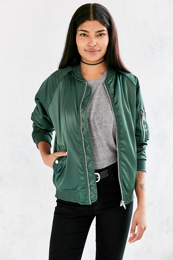 Unif For Uo Satin Bomber Jacket | Where to buy & how to wear