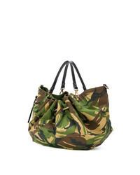 Dark Green Camouflage Canvas Tote Bag