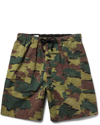Dries Van Noten Camouflage Print Cotton And Linen Blend Shorts