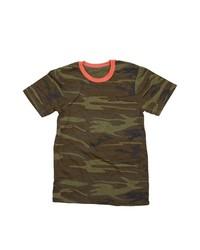 Dark Green Camouflage Crew-neck T-shirt