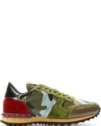 Dark Green Camouflage Low Top Sneakers