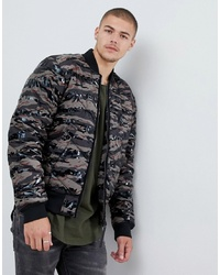 G Star Meefic Quilted Camo Bomber Jacket In Green
