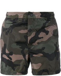Dark Green Camouflage Shorts