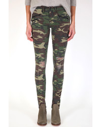 Dark Green Camouflage Skinny Jeans