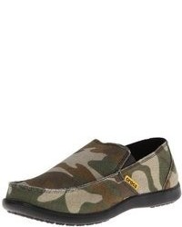 Dark Green Camouflage Slip-on Sneakers