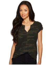 Dark Green Camouflage V-neck T-shirt
