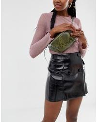 Bershka Chain Bum Bag In Khaki
