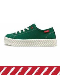 Dark Green Canvas Low Top Sneakers
