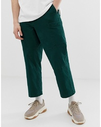 ASOS WHITE Cargo Trousers In Dark Green Heavyweight Twill