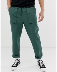 ASOS DESIGN Relaxed Trousers In Deep Green With Pocket Detail