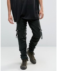 Asos Slim Cargo Pants With Side Tape In Dark Green