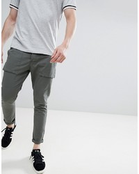 Solid Utility Trousers In Dark Khaki