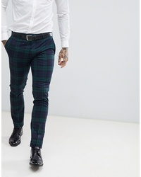Twisted Tailor Super Skinny Suit Trouser In Green Check