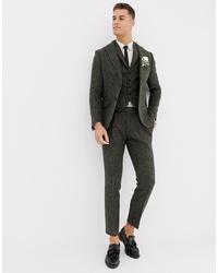 ASOS DESIGN Slim Suit Trousers In 100% Wool Harris Tweed Khaki Micro Check