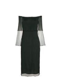 Dark Green Chiffon Midi Dress