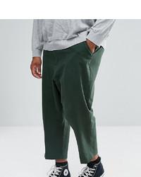 ASOS DESIGN Asos Plus Drop Crotch Tapered Smart Trousers In Dark Green Textured