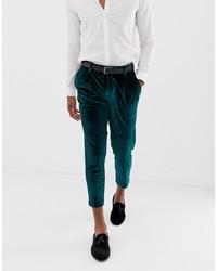 ASOS DESIGN Slim Crop Smart Trouser In Green Velvet