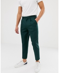ASOS DESIGN Tapered Crop Smart Trouser With Pleats In Green