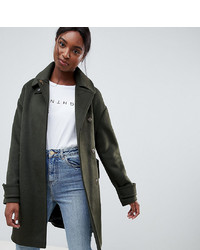 Asos Tall Asos Design Tall Coat In Twill With Neck