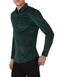 Dark Green Corduroy Long Sleeve Shirt