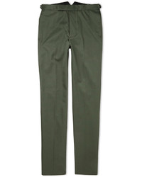 Officine Generale Green Slim Fit Cotton Suit Trousers